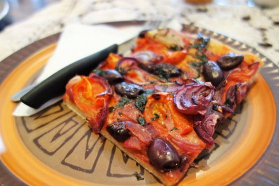 Foccacia Roasted Tomato, Carmelised Red Onion and Black Olives  from Crumbs Organic Bakehouse, Ascot Vale