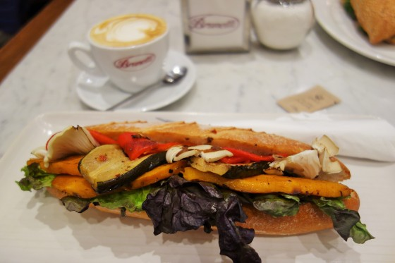 Roasted Vegetable Panini and Soy Flat White from Brunetti's, Carlton