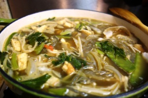 Sweet Potato Noodle Soup with Tofu, Asian Greens and White Fungus (gf, nf)
