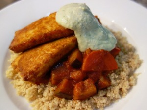 Sweet Spiced Baked Tofu, Cashew Mint 'Yogurt'  and Eggplant and Carrot in a Rich Tomato Sauce with Whole wheat Couscous
